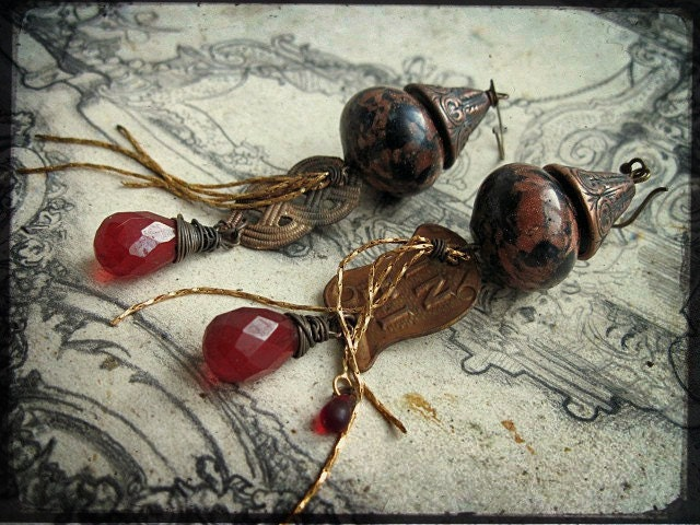 The Heliopause. Victorian Tribal Earrings.