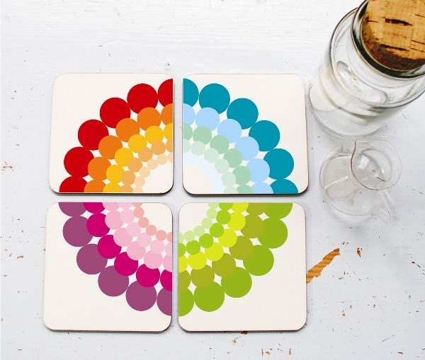 Set of 4 puzzle coasters printed retro colorful rainbow circled dots for your home or office decoration