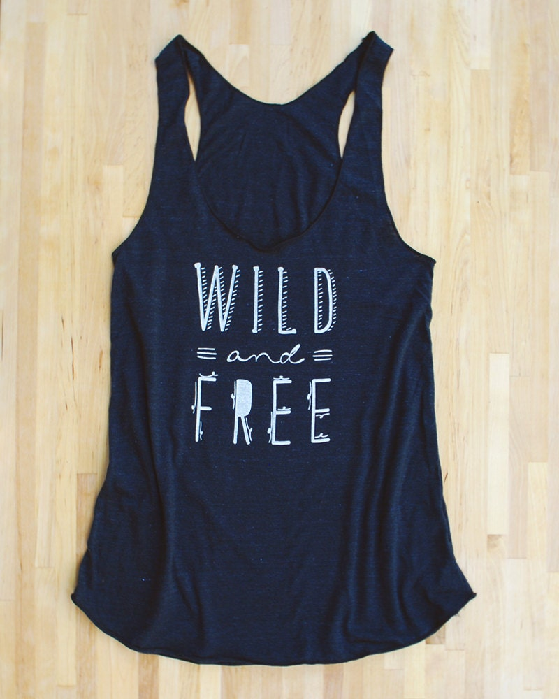 Wild and Free Racerback Tank in triblend black blue tan american apparel screen printed eco-friendly water based inks tribal geometric print - littlelow