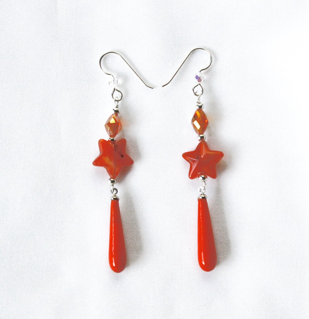 Sterling Silver Orange Dangle Earrings - Vintage Beads