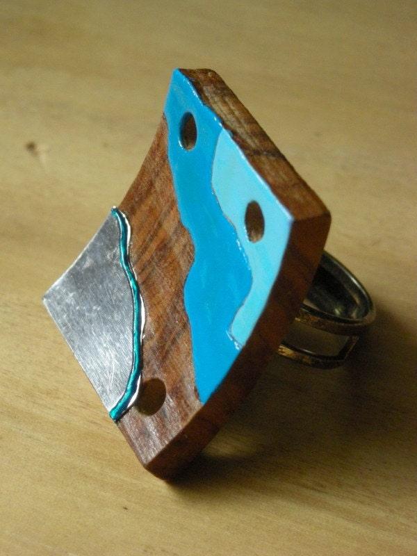 СЕРЕБРИСТЫЙ SEA Handpainted кольца древесины искусства