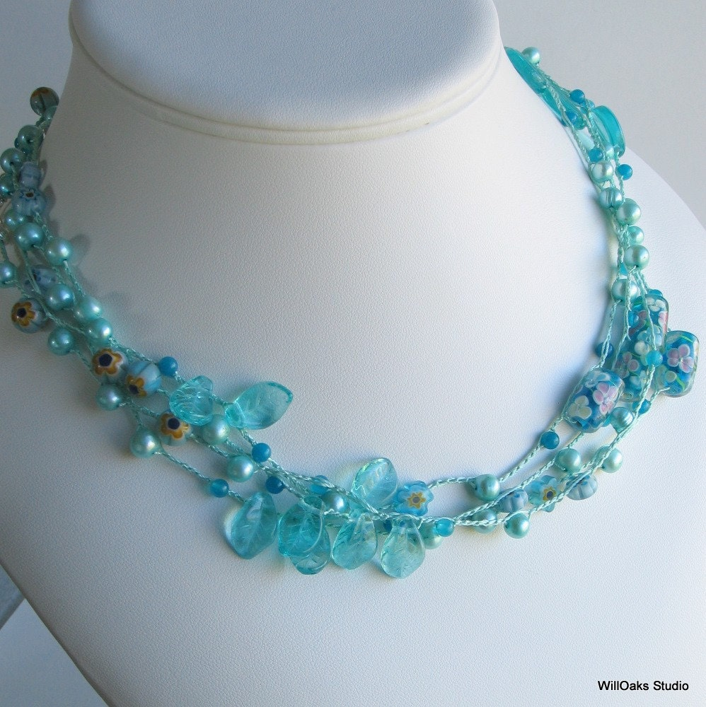 Shades of Turquoise Glass and Silk Long Necklace or Wrap Bracelet