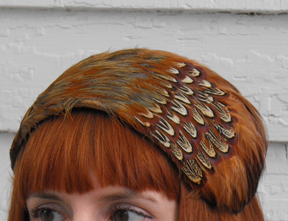 Vintage Feather Hat Brown Rust Earth Tones Cocktail Headband - soulrust