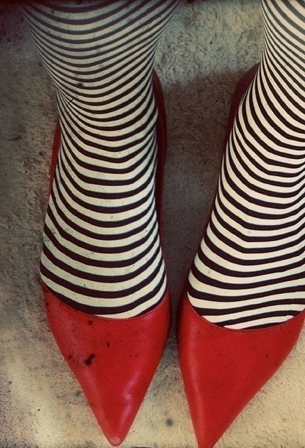 Red shoes 4x6 Original Signed Fine Art Photograph, Dorothy, black and white stripes, wizard of oz