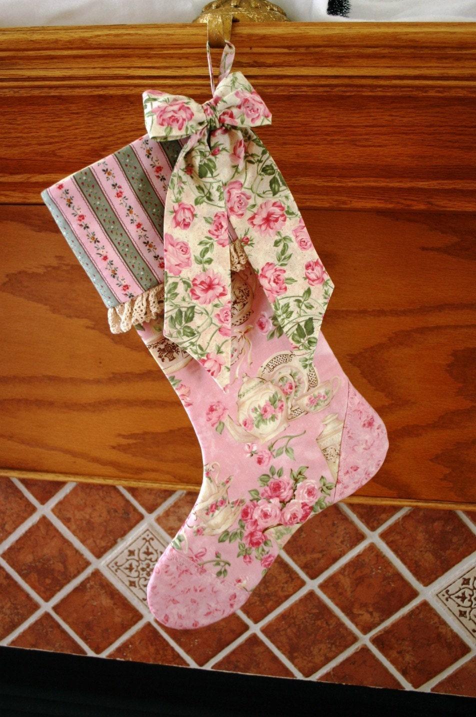 Stocking Natal Padrão PDF Pattern Bow LIVRE Big vitoriana, Shabby Chic, Decoração férias tradicionais