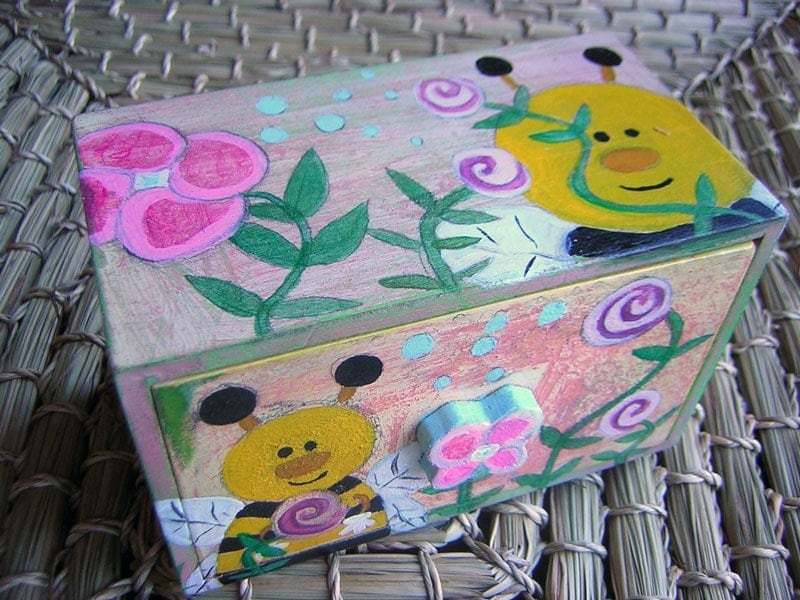 Sweet Beezus Tiny Trinket Jewelry Box with by queenofqueens from etsy.com