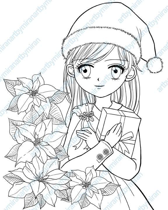 Christmas Digital Stamp, Poinsettia and Girl Coloring page, Xmas digi ...