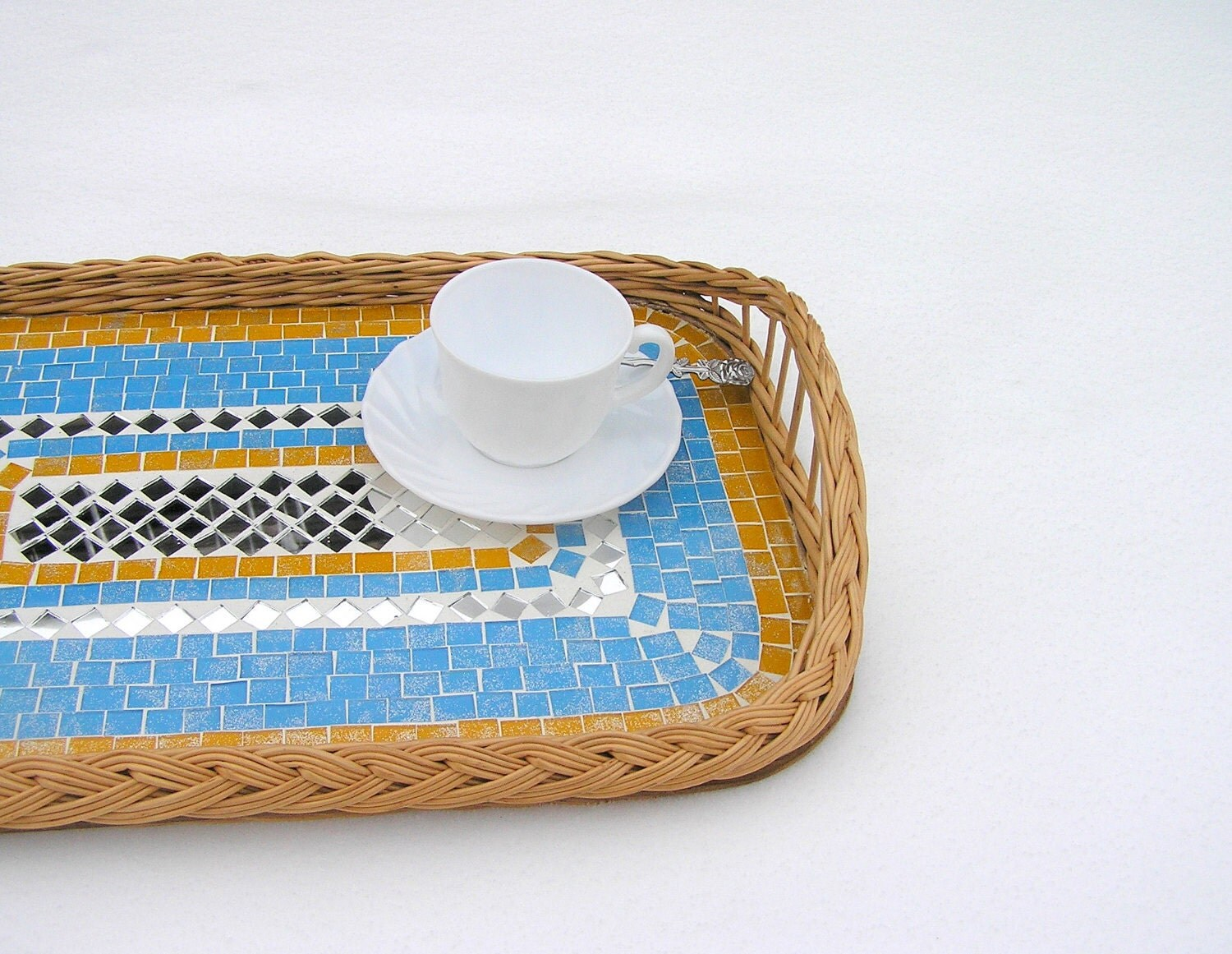 Serving tray light blue glass mosaic home decor - SirliMosaic