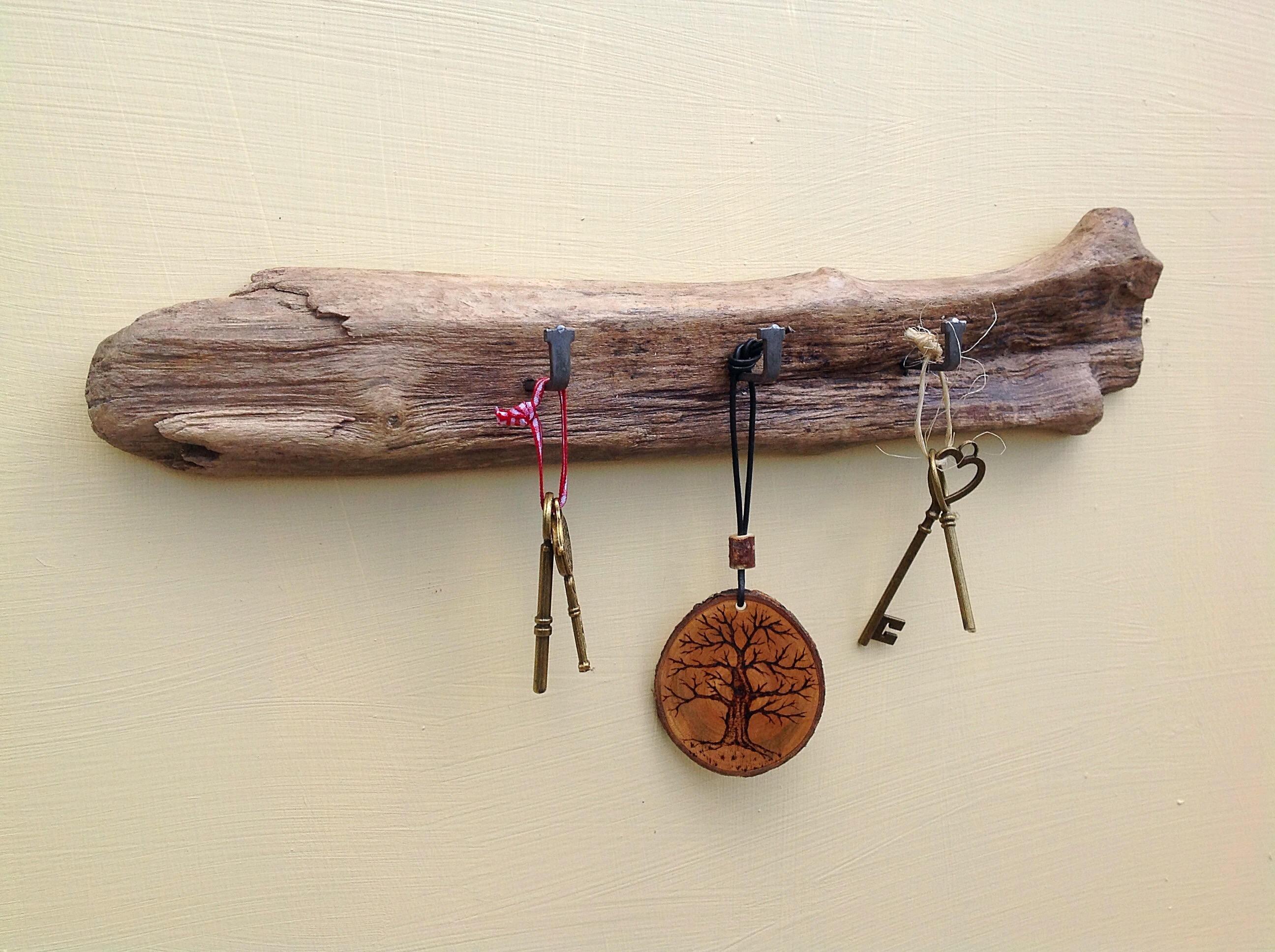 Driftwood key rack. Wall rack. 3 hooks. Drift wood hanging hooks for keys teatowels dog leads aprons... Beach decor key display holder