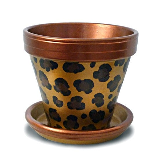Copper Gold Leopard Flower Pot Animal Print Funky Mother's Day - MicheleCordaroDesign
