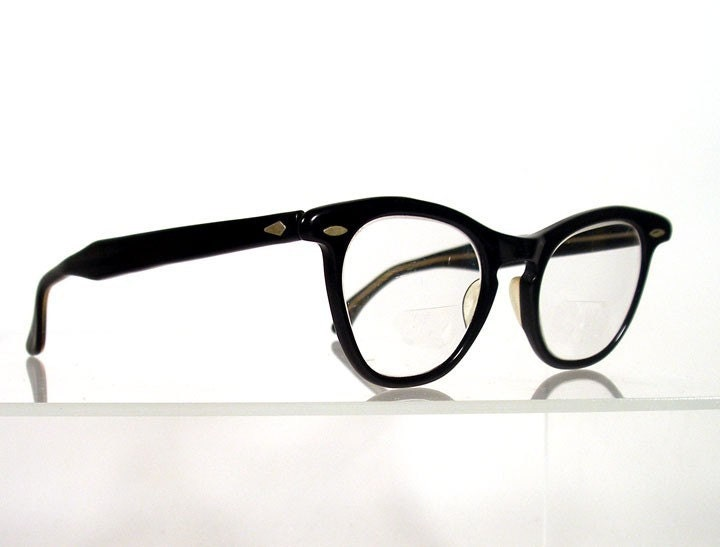 Vintage 1950s Black Retro Womens Eyeglass Frames