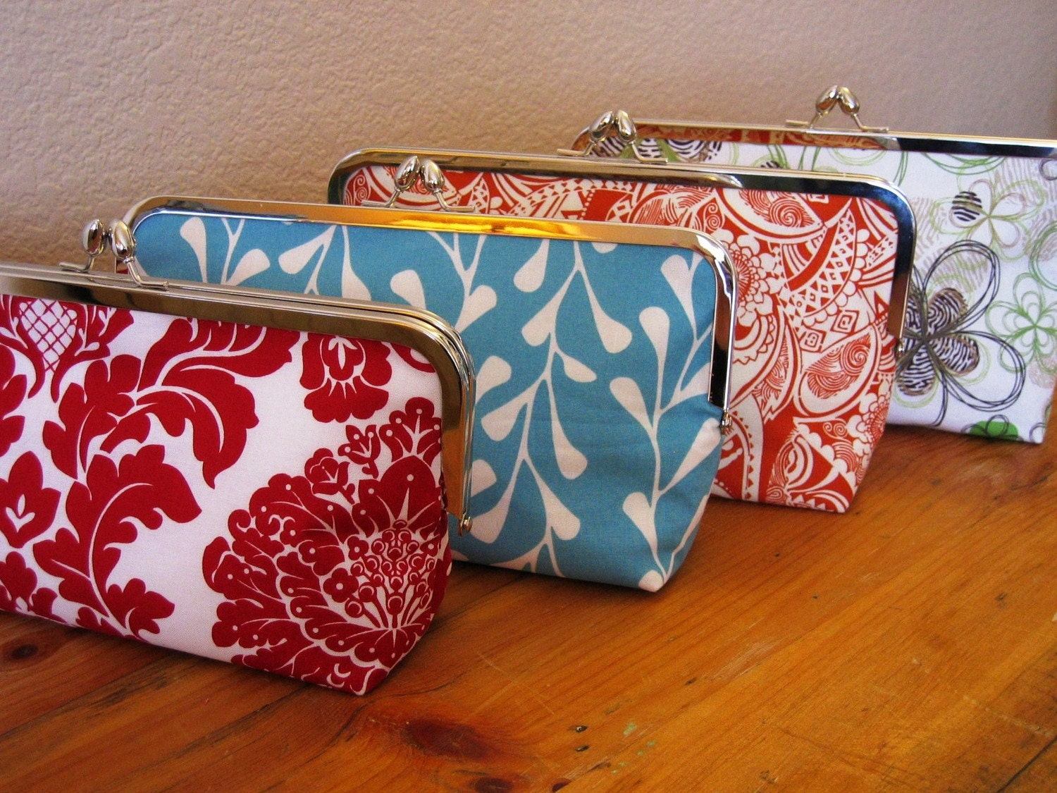 Custom Bridesmaids Clutches with Silver Clasp Frames