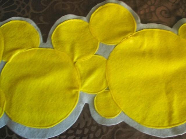 Gray and Yellow Felt Polka Dot Table Runner