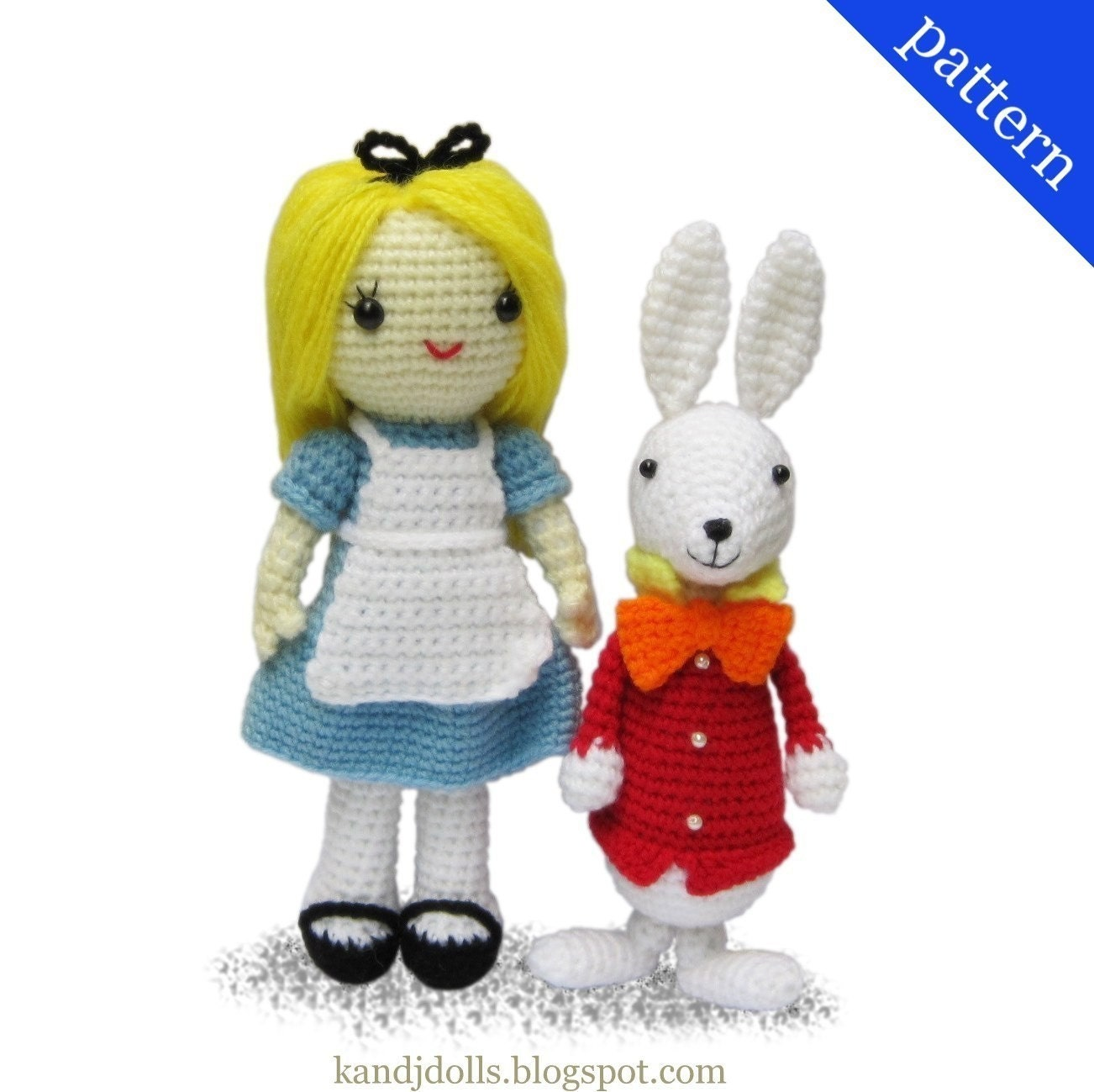 Crochet Doll Scarf Pattern Free : Alice in Wonderland and White Rabbit Amigurumi pattern ...
