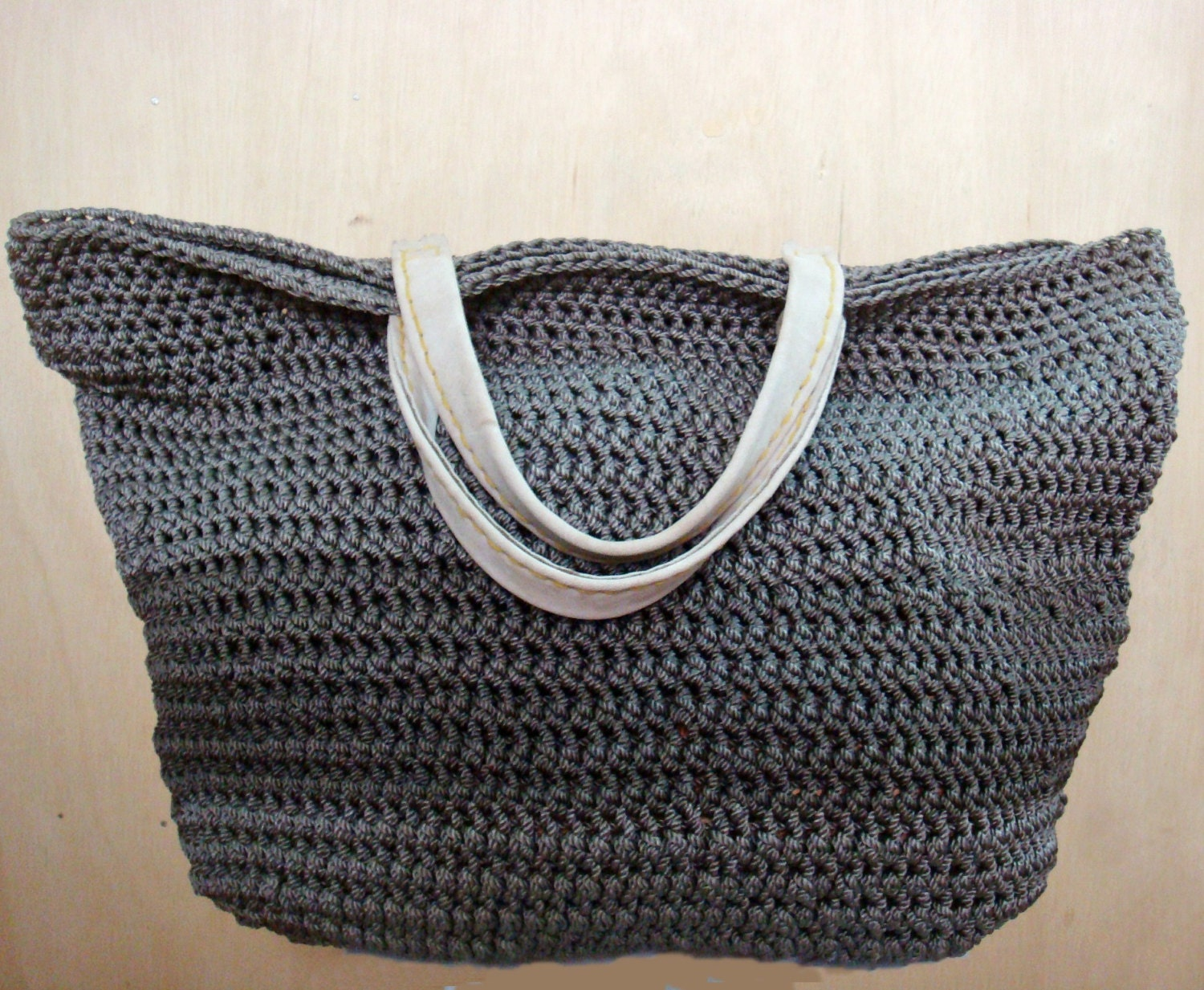 Leather Crochet Bag : Large Crochet Tote Bag in Ombre Grey with Natural Leather by faima
