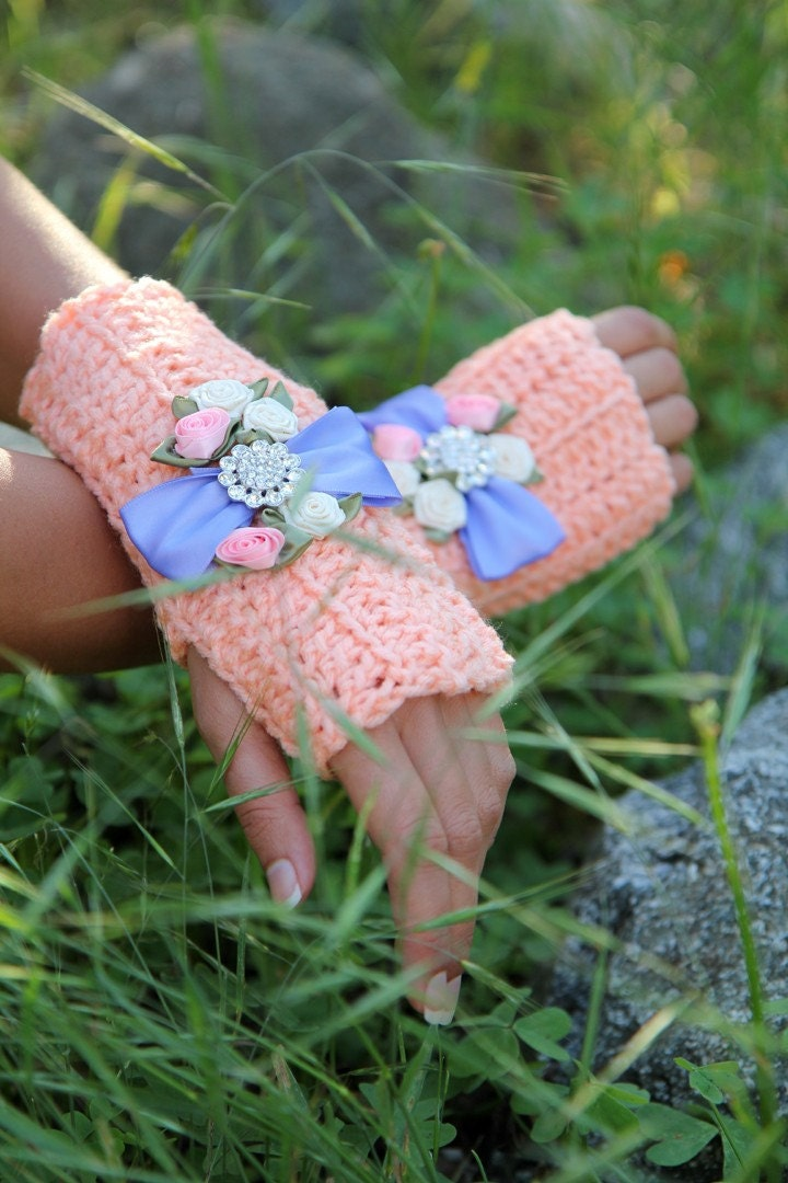 Whimsy Fingerless Gloves in Coral and Crystal by Mademoiselle Mermaid