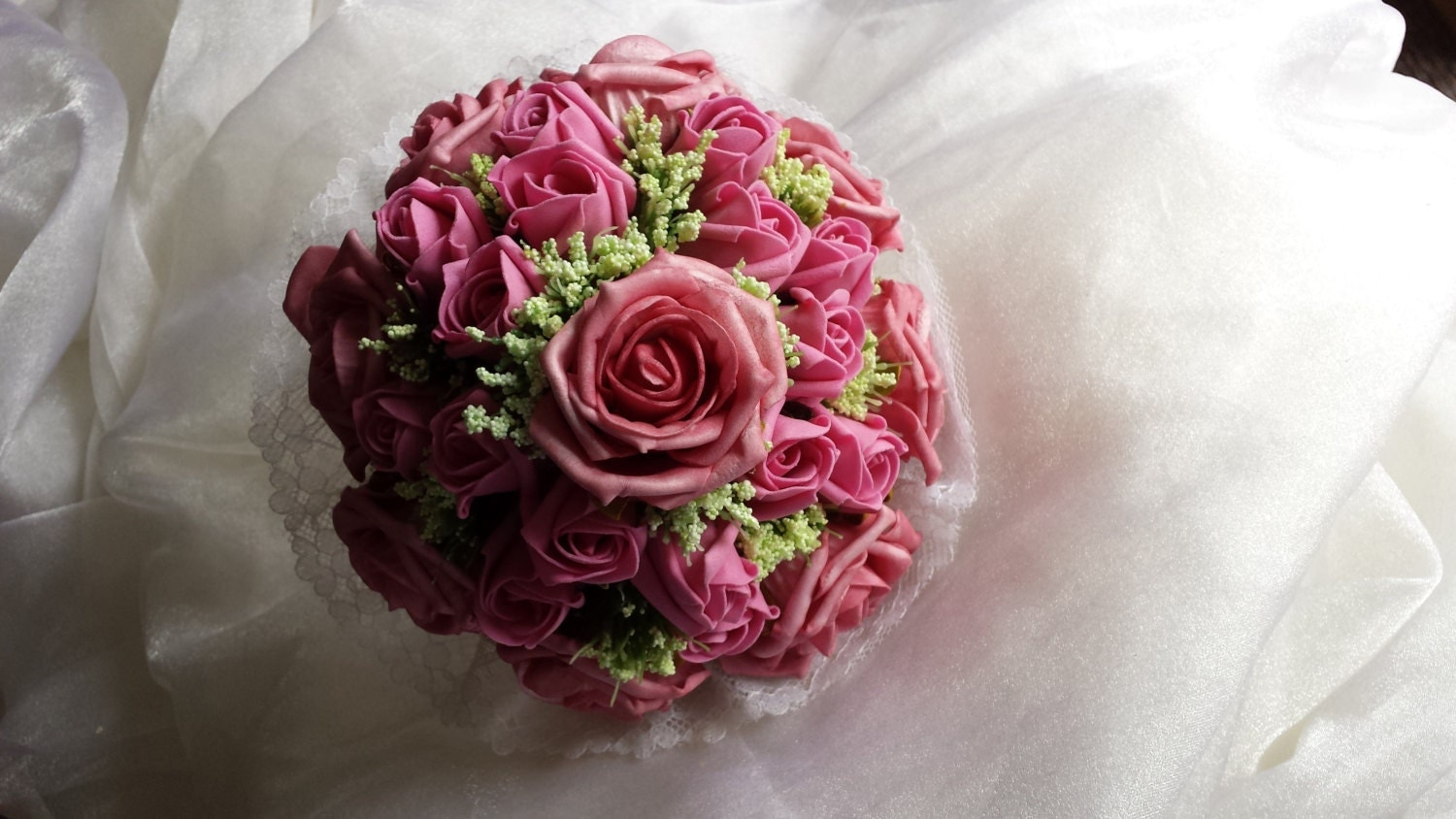 Gorgeous Vintage Inspired Wedding Bouquet in Mixed Pink Roses and Ivory Trachelium with Delicate Lace Collar