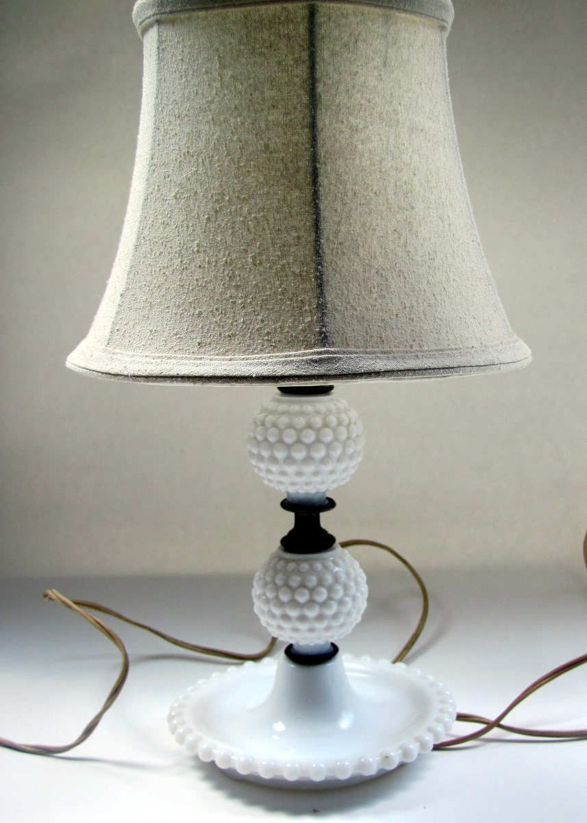 vintage hobnail milk glass lamp by cottageandvine on etsy