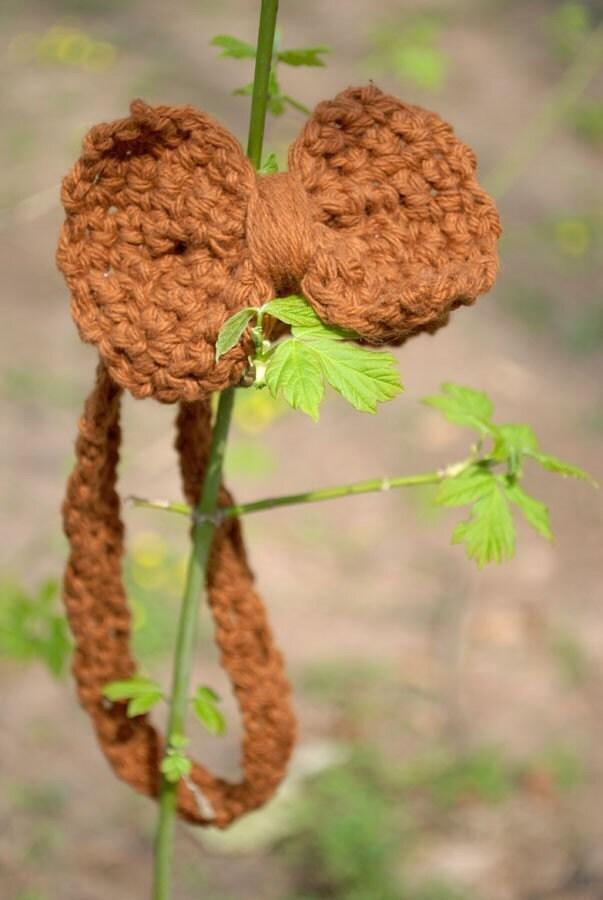 Мини головная повязка из лука в коричневый хлопок