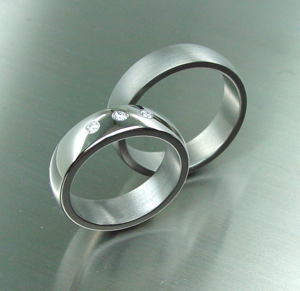 rings, Wedding band set, titanium ring Diamonds, Titanium wedding ...
