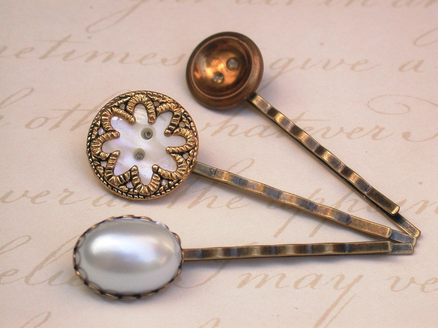 A Touch of Vintage  - A Set of Three Fabulous Vintage Buttons Hair Bobby Pins