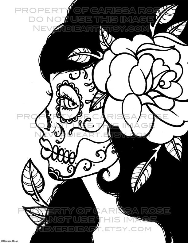 day of the dead coloring book coloring page  laracolorhd