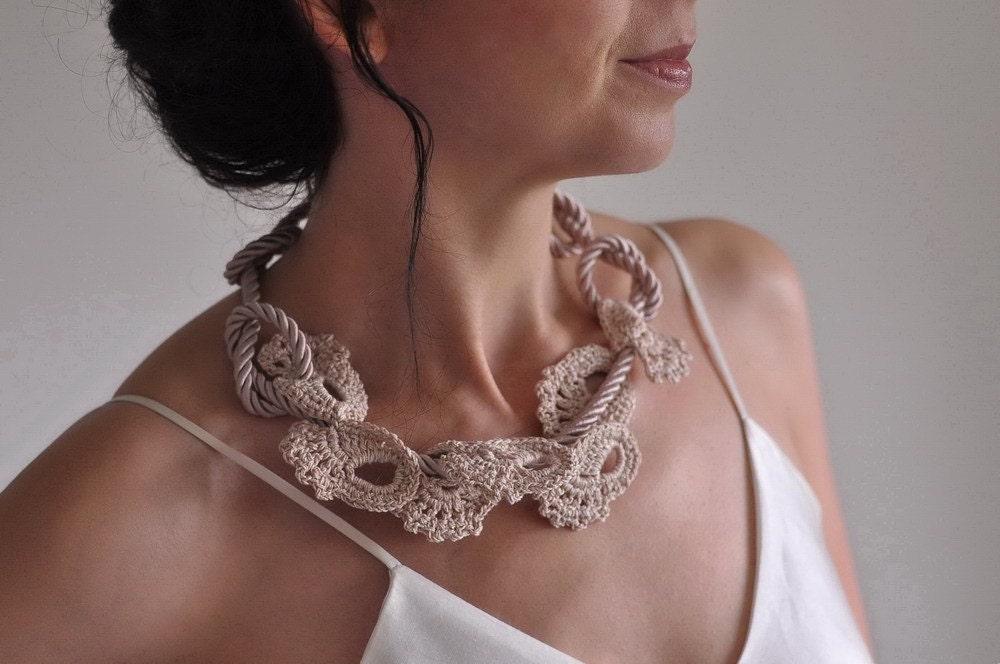 Чары - уникальный вязаное кружево хлопок и атлас веревка шнур ожерелье