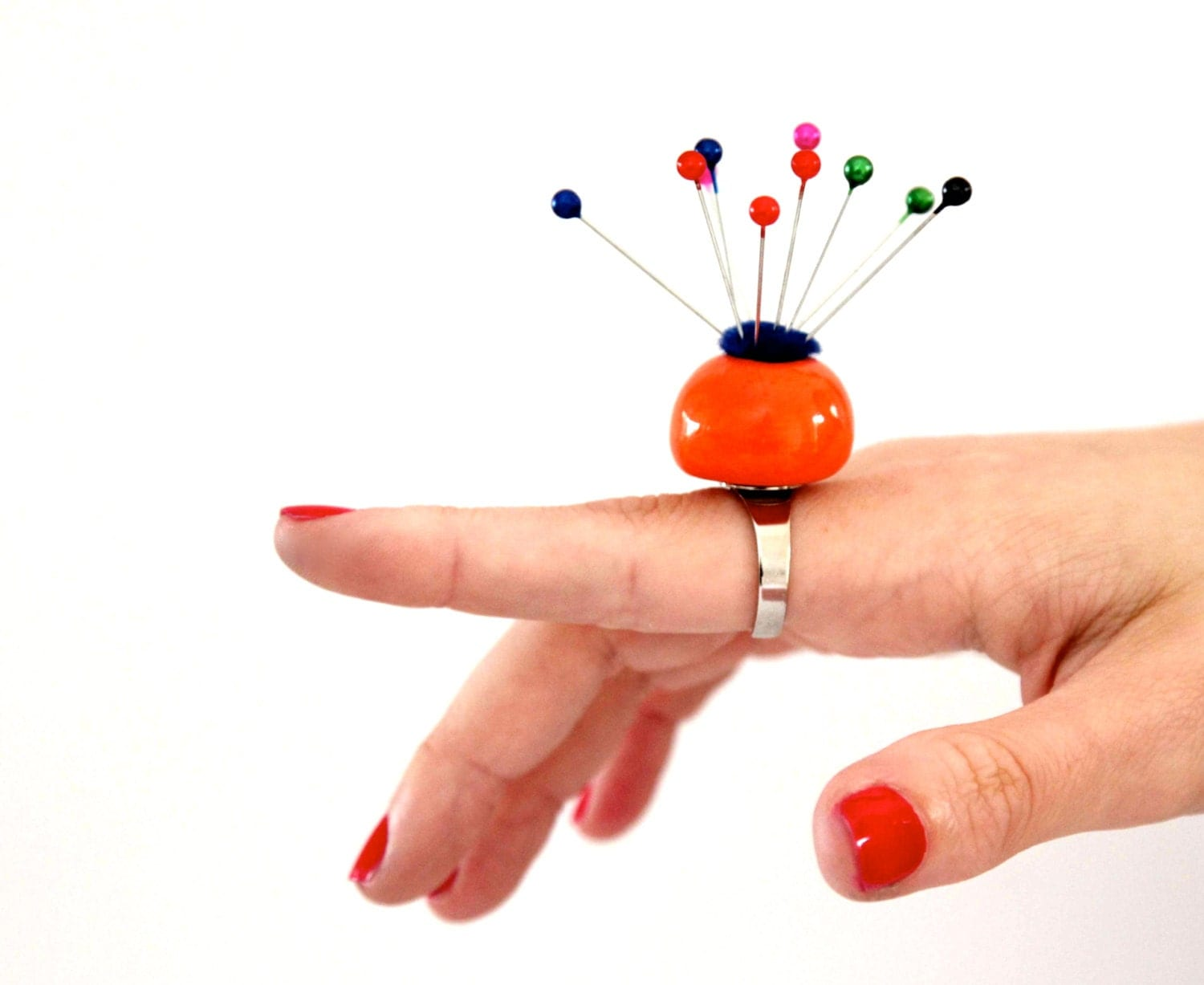 Pin Cushion Ring Ceramic ,  big bold oversize outrageous handmade cocktail ring - Neon Orange - StudioLeanne