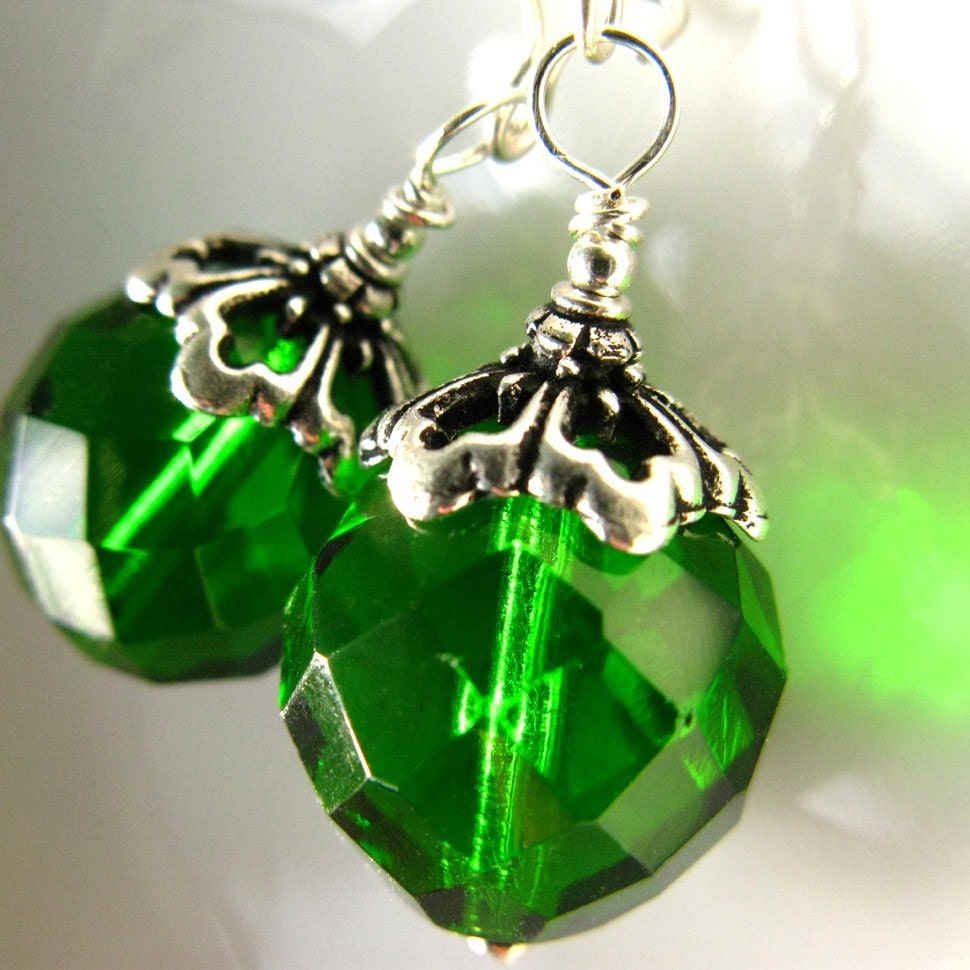 Deep, Bright Green Christmas Ornament Earrings