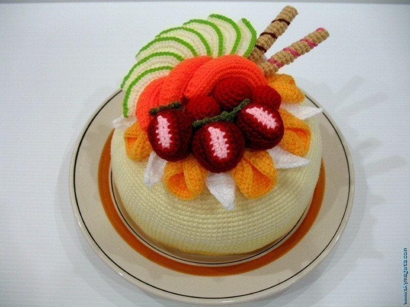 Crochet Pattern- Tasty FRUIT CAKE-Play Food/Toys PDF