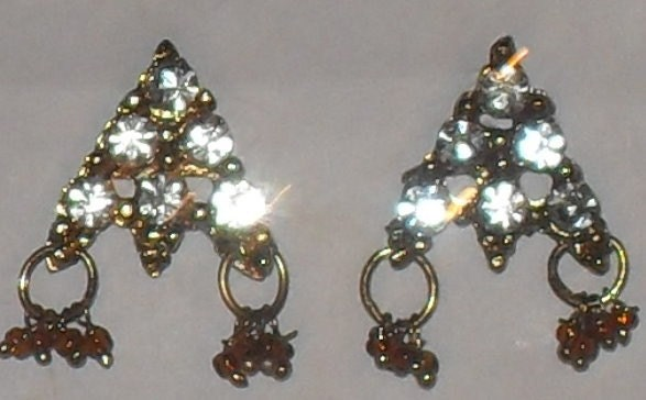 Fun goldtone crystal encrusted triangular earrings with beaded dangles great for bellydance outfit or everyday wear