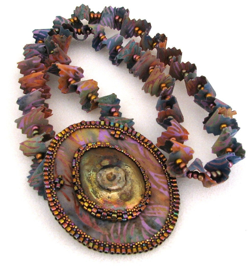 Youthful Fancy Necklace with Raku Focal and Bead Embroidery (2337)