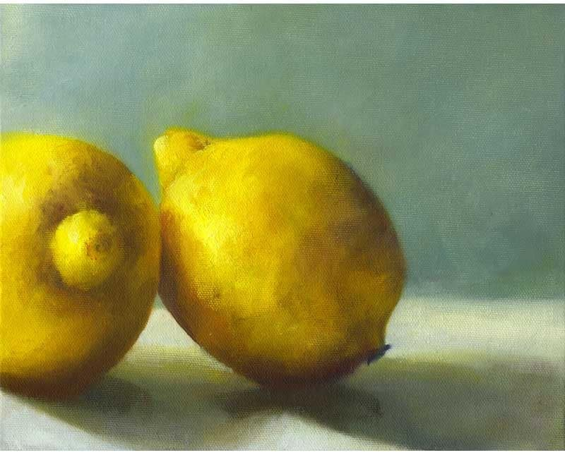 Tart Lemons - art print of oil painting - Free US Shipping // reproduction of still life painting  juicy yellow on grey jade - JoBradney