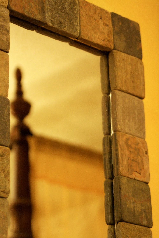 Slate Framed Accent Mirror, 9 x 40 - Handmade