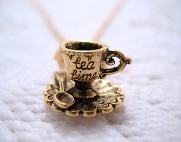 Tea Time Teacup And Saucer Necklace