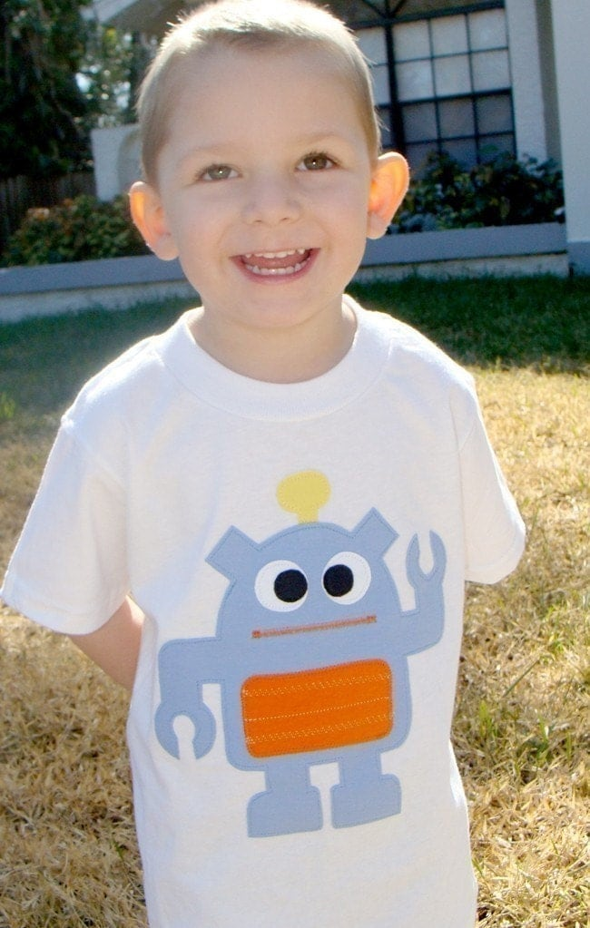 Robot Boys Custom Applique Tshirt