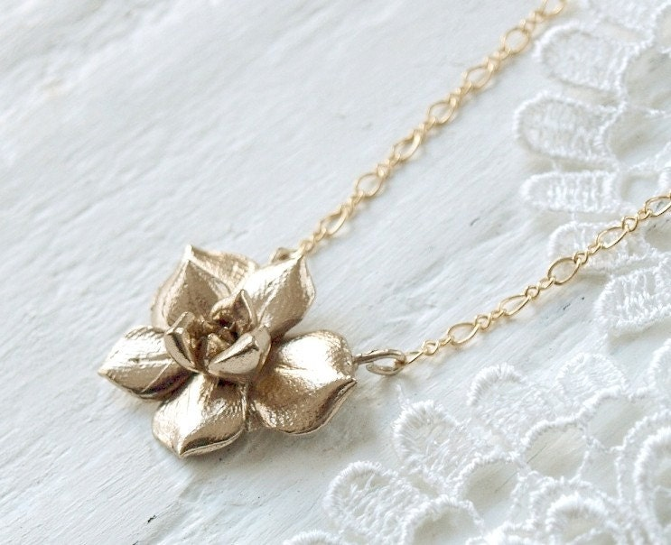 Solid Bronze Echeveria Succulent Necklace