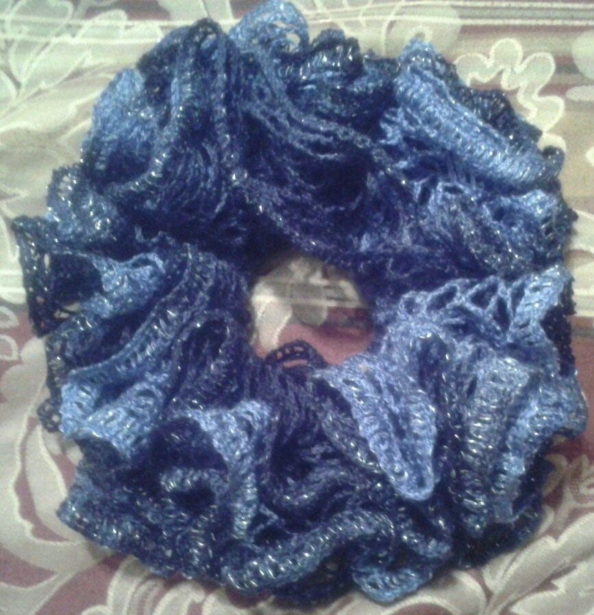 Crochet Hair At Night : Doctor Who / Starry Night Ruffle Crochet Hair Scrunchie, Ready to Ship ...