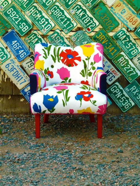 Vintage Flower Art Deco Chair by Vintage Renewal