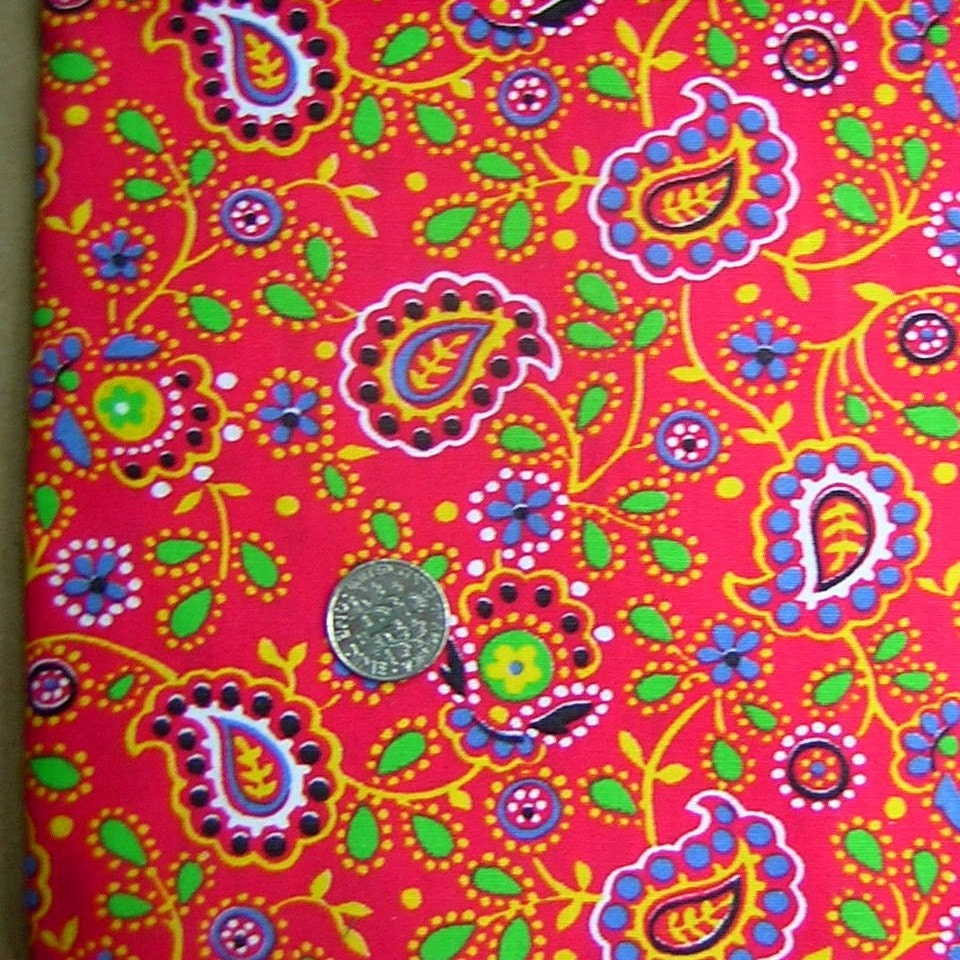 Vintage Mod 60s 70s Folky Paisley Hippie Flower Power Dotted Fabric 1Y Plus
