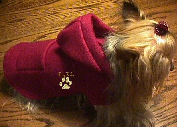 BURGUNDY/BERRY HOODIE Dog Coat Jacket w/Pocket  (xxxs-xxs-xs-s-m) Fleece