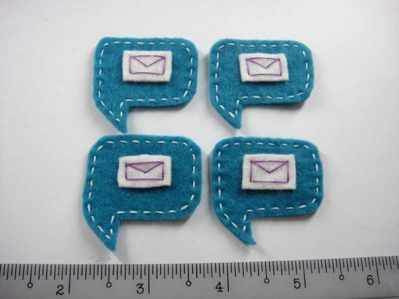 Felt Applique - MAIL DIALOGUE - 4 PCS - Handmade