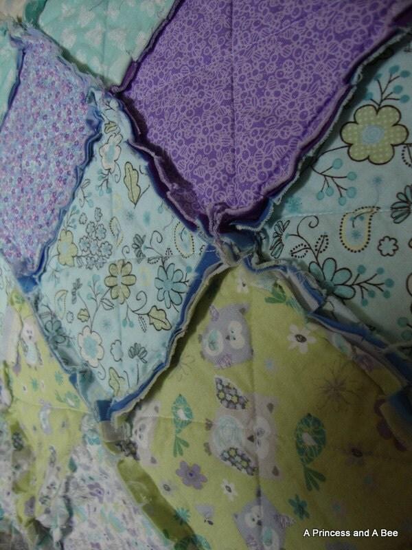 "Baby Rag Quilt--Purple/Blue/Green  28"" x 32"" - APrincessAndABee"