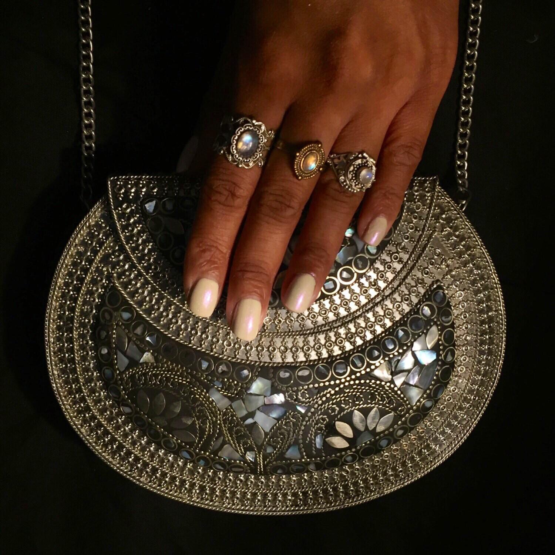 Swara  silver metal bag  pearl metal bag  mother of pearl bag  ethnic clutch  metal stone bag  vintage bag  handmade clutch  indian