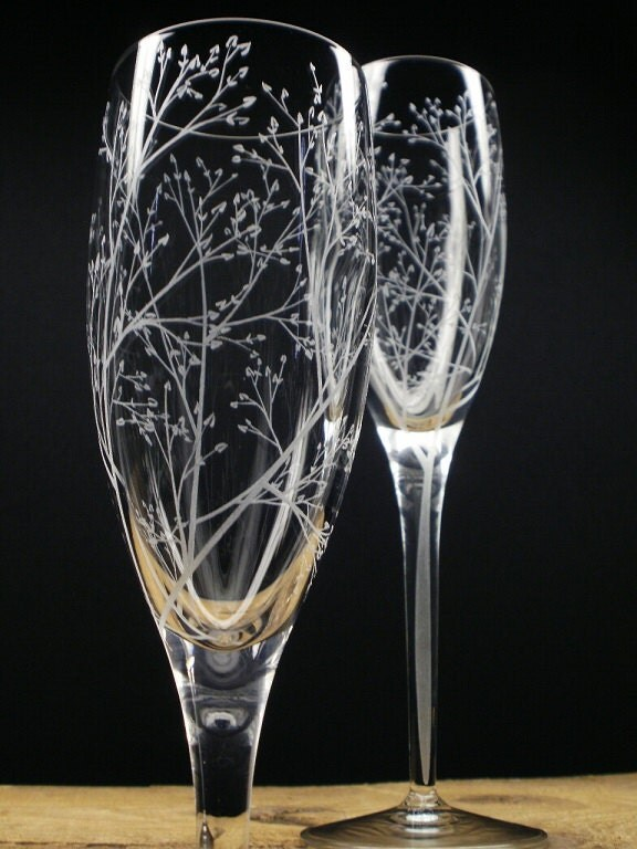Hand Painted Champagne Flutes For Bridal Party