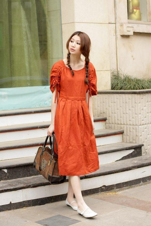 look like princess - orange half sleeve sundress(more colour choose)