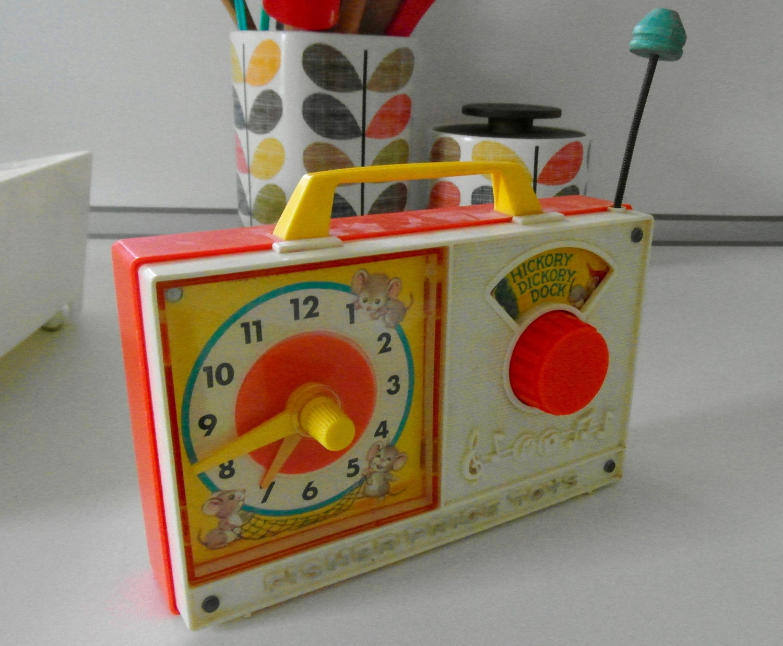 Vintage 1960s Fisher Price Toy Clock Radio retro toddler time
