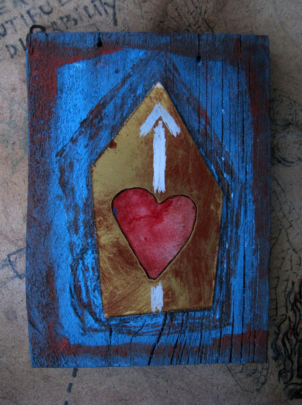 Heart with White Upward Arrow. On Blue with Dark Red-Orange Painted Wood.