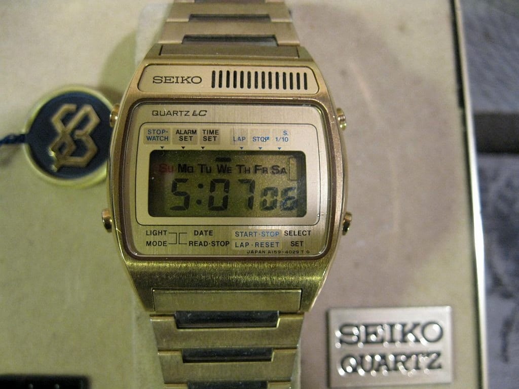 digital seiko 70s vintage lcd stopwatch by
