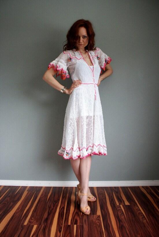 30s 40s estilo vintage Crochet Vestido Boho
